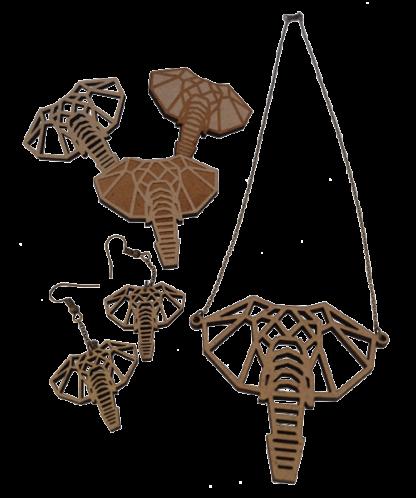 T-elephant-Trio-broches+BO+collier